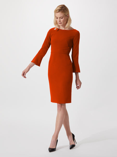 Boat neck midi length pencil dress with fluted sleeves