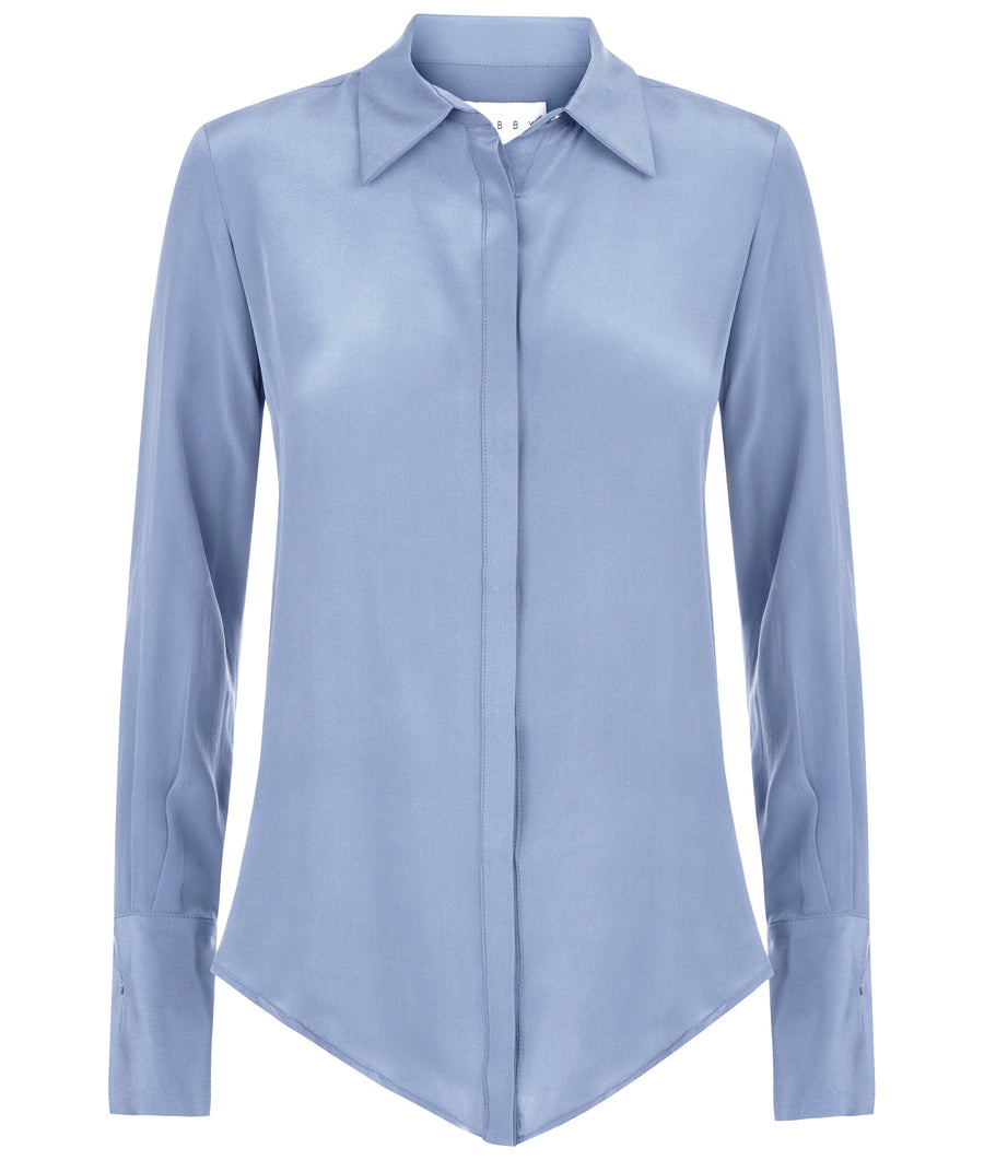 Beaulieu Cornflower Blue Silk Shirt