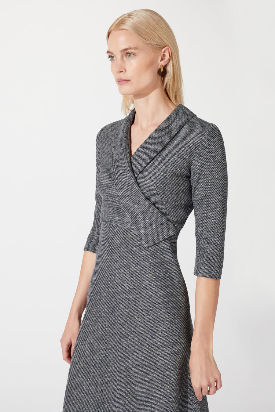 Farringdon Grey Twill Jacquard Dress