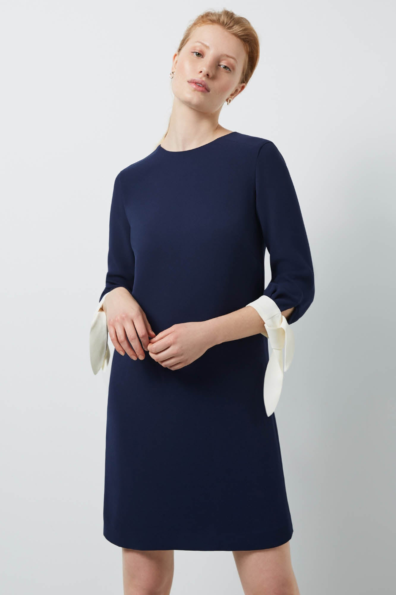 Padstow Navy and Cream Dress