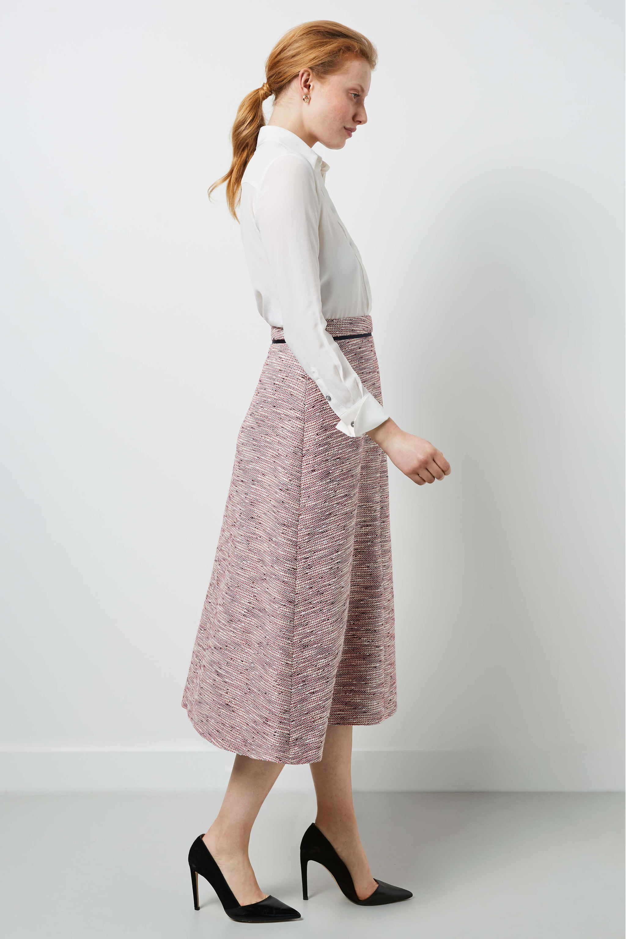 Penrith Red Jacquard Skirt