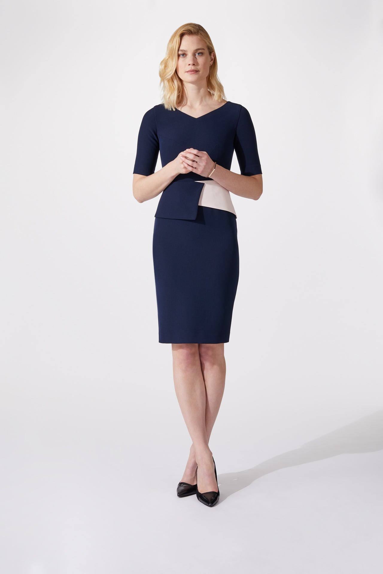 Sydney Dress Navy & Blush