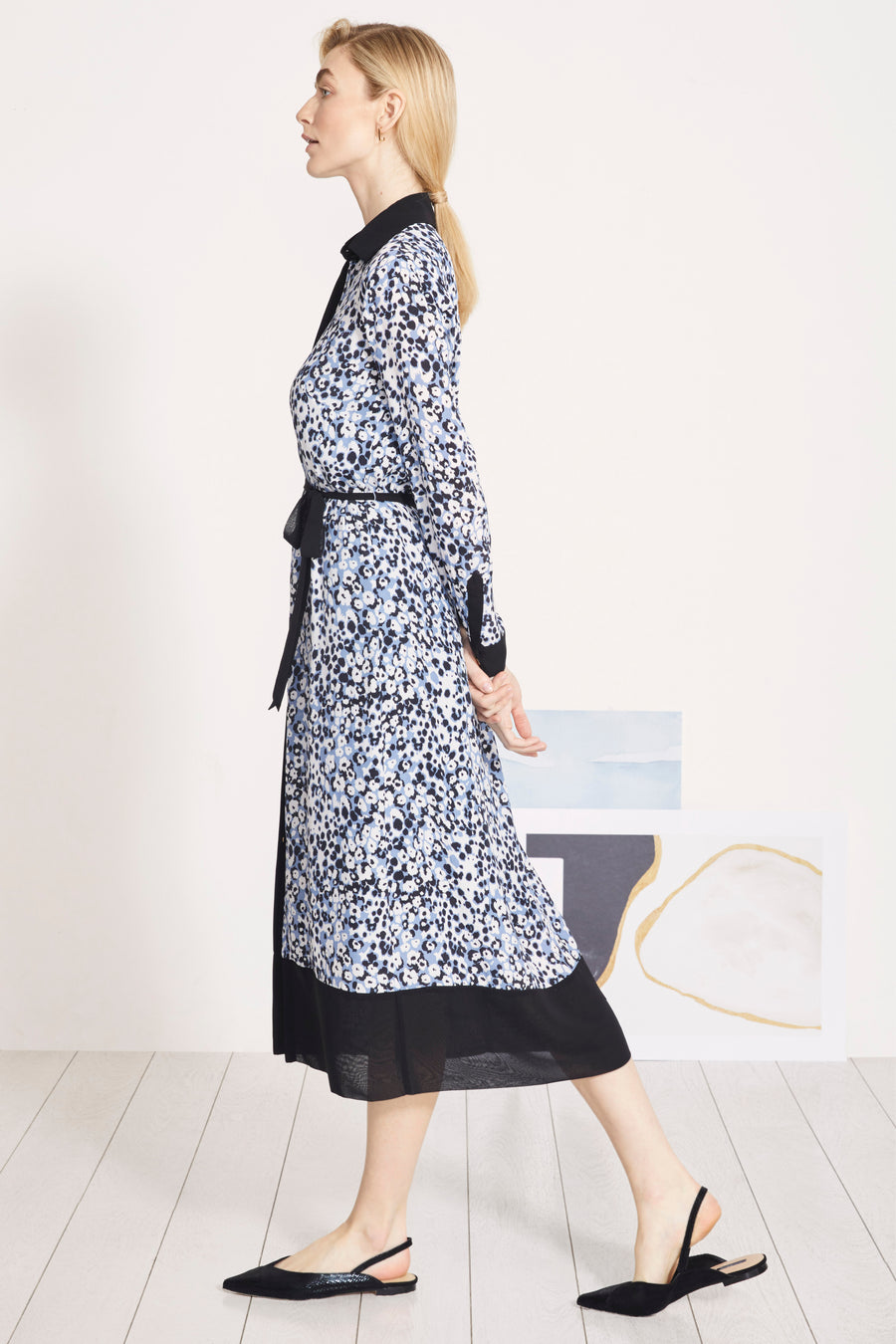 Arundel Turner Blue Spot Print Midi Shirt Dress