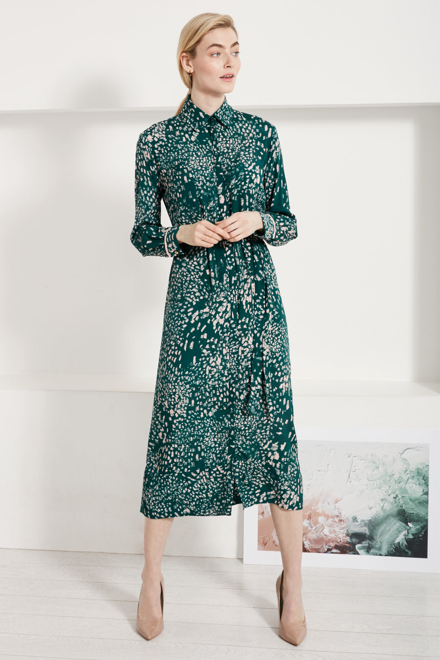 Arundel Green Feather Print Midi Shirt Dress