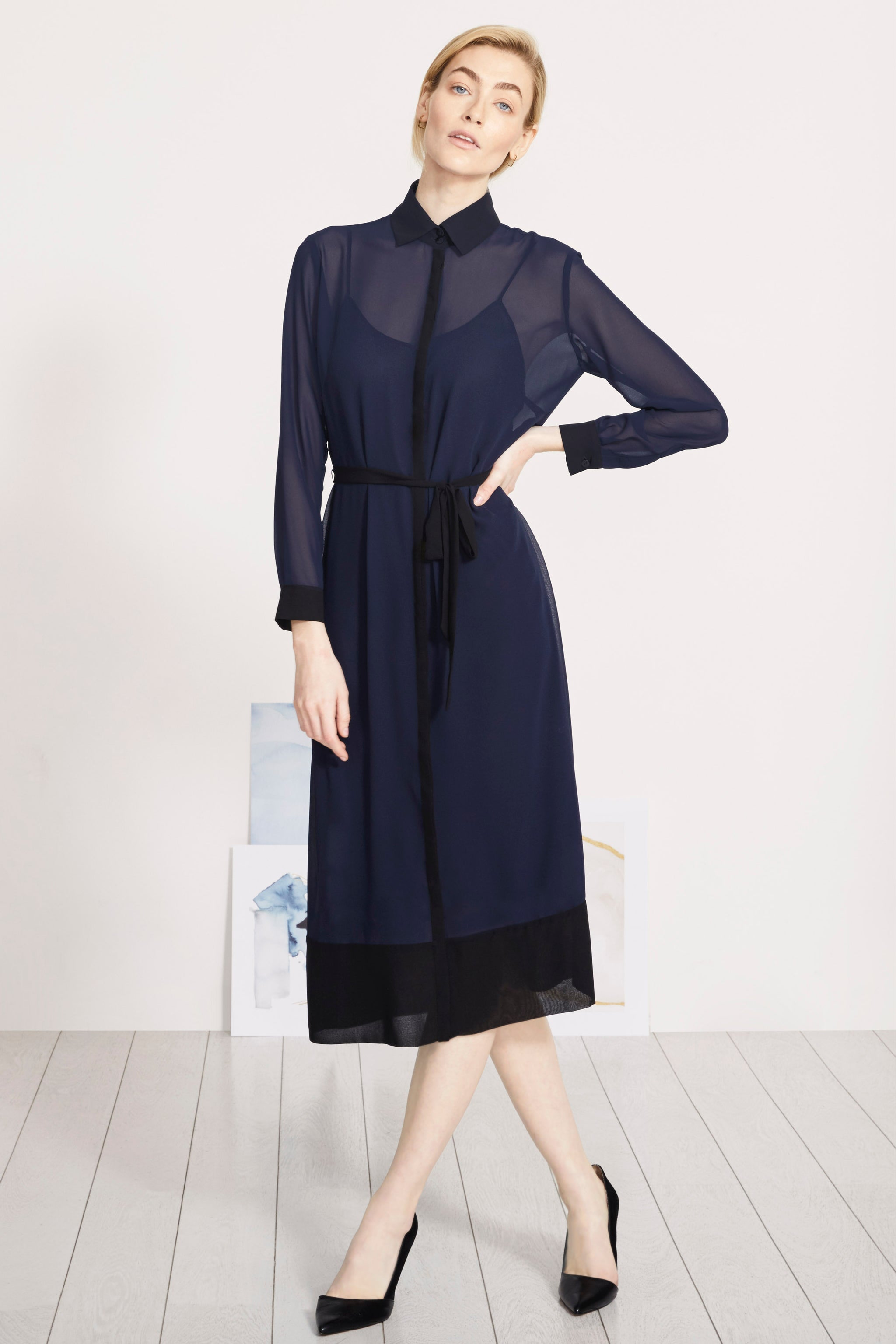 Arundel Navy and Black Shirt Dress