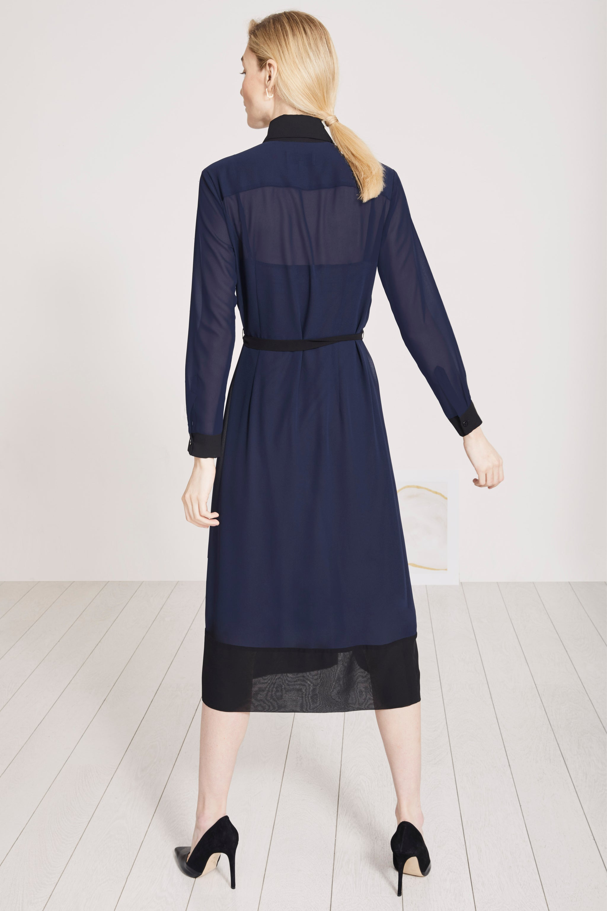 Arundel Navy and Black Midi Shirt Dress