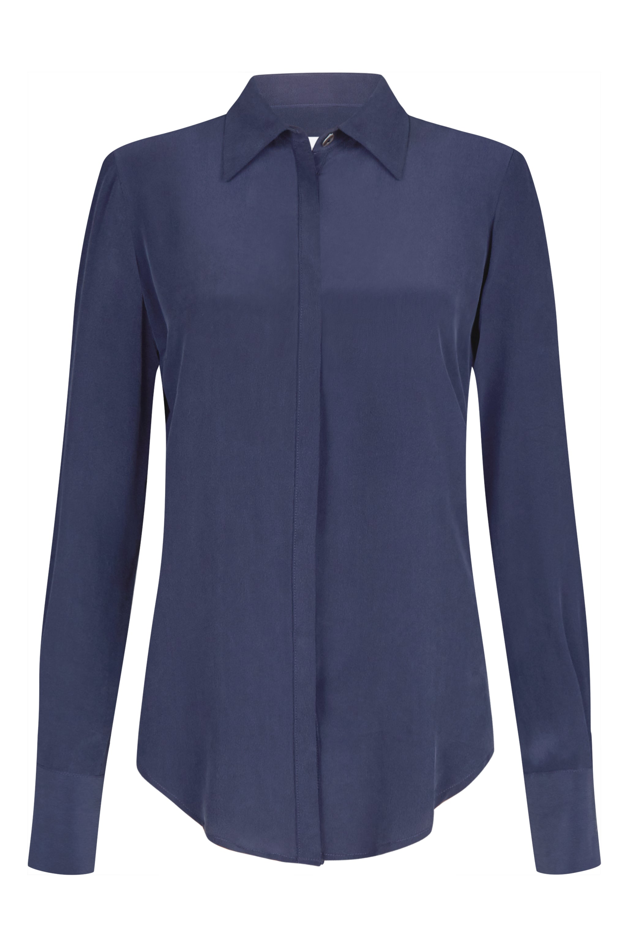 Beaulieu Navy Sandwash Silk Shirt