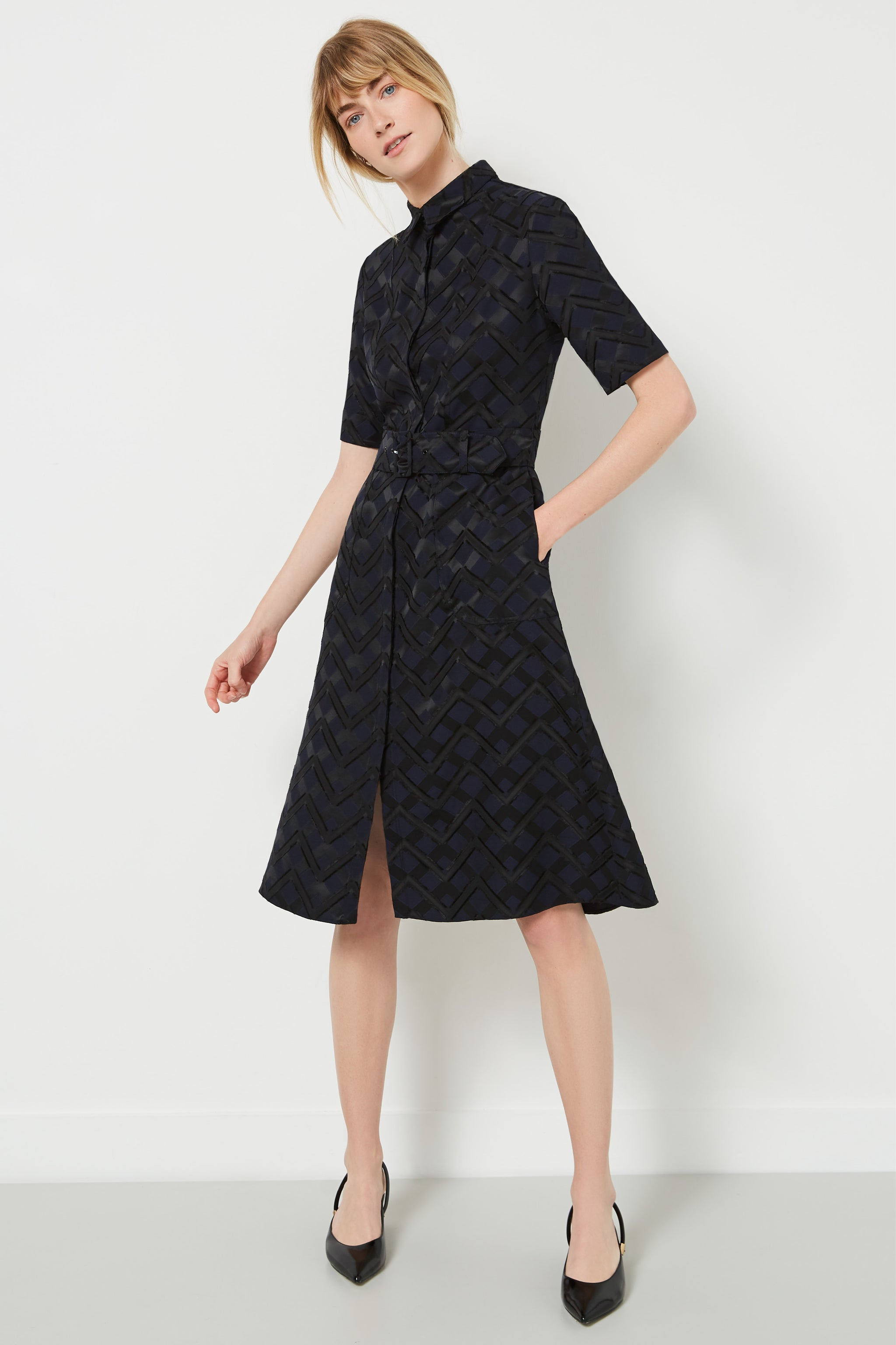 Belvedere Chevron Jacquard Shirt Dress