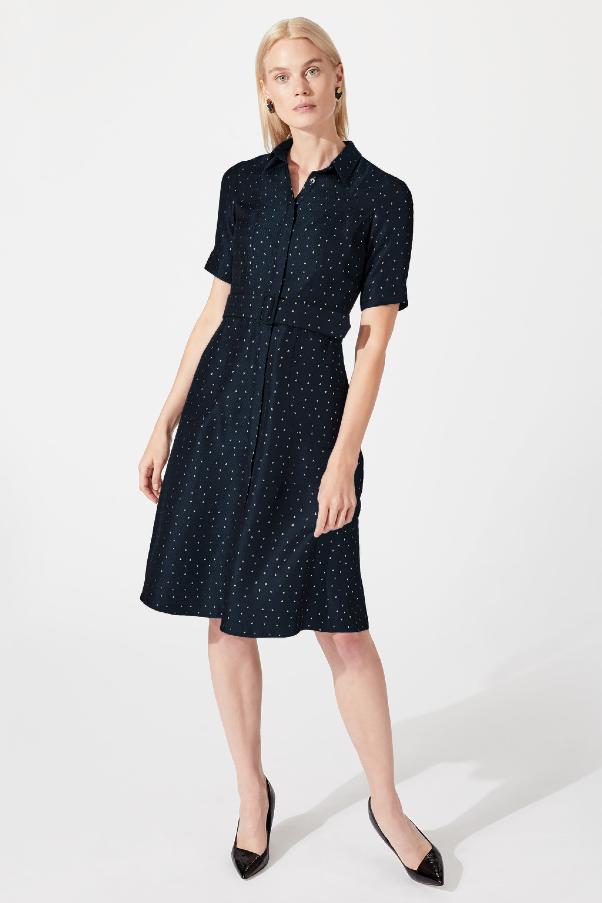 Belvedere Navy Metallic Jacquard Shirt Dress