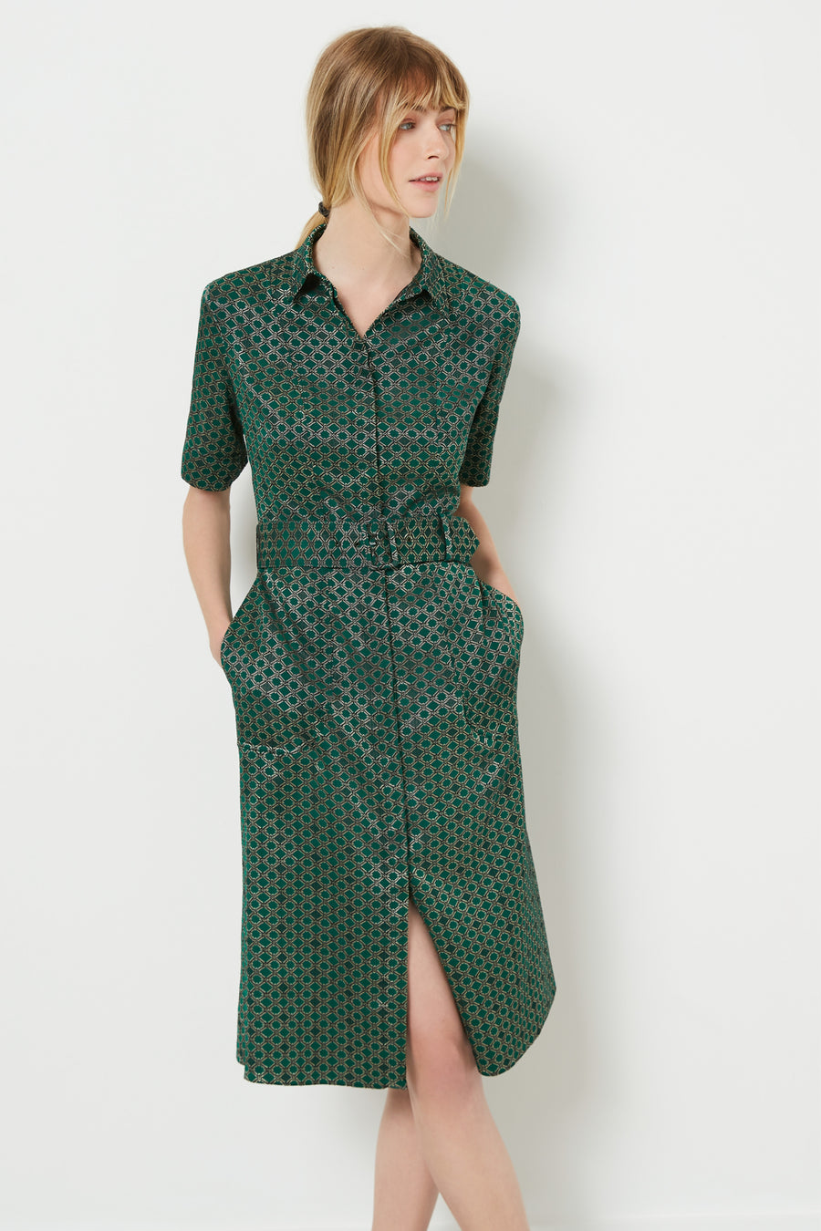 Belvedere Green Print Jacquard Shirt Dress