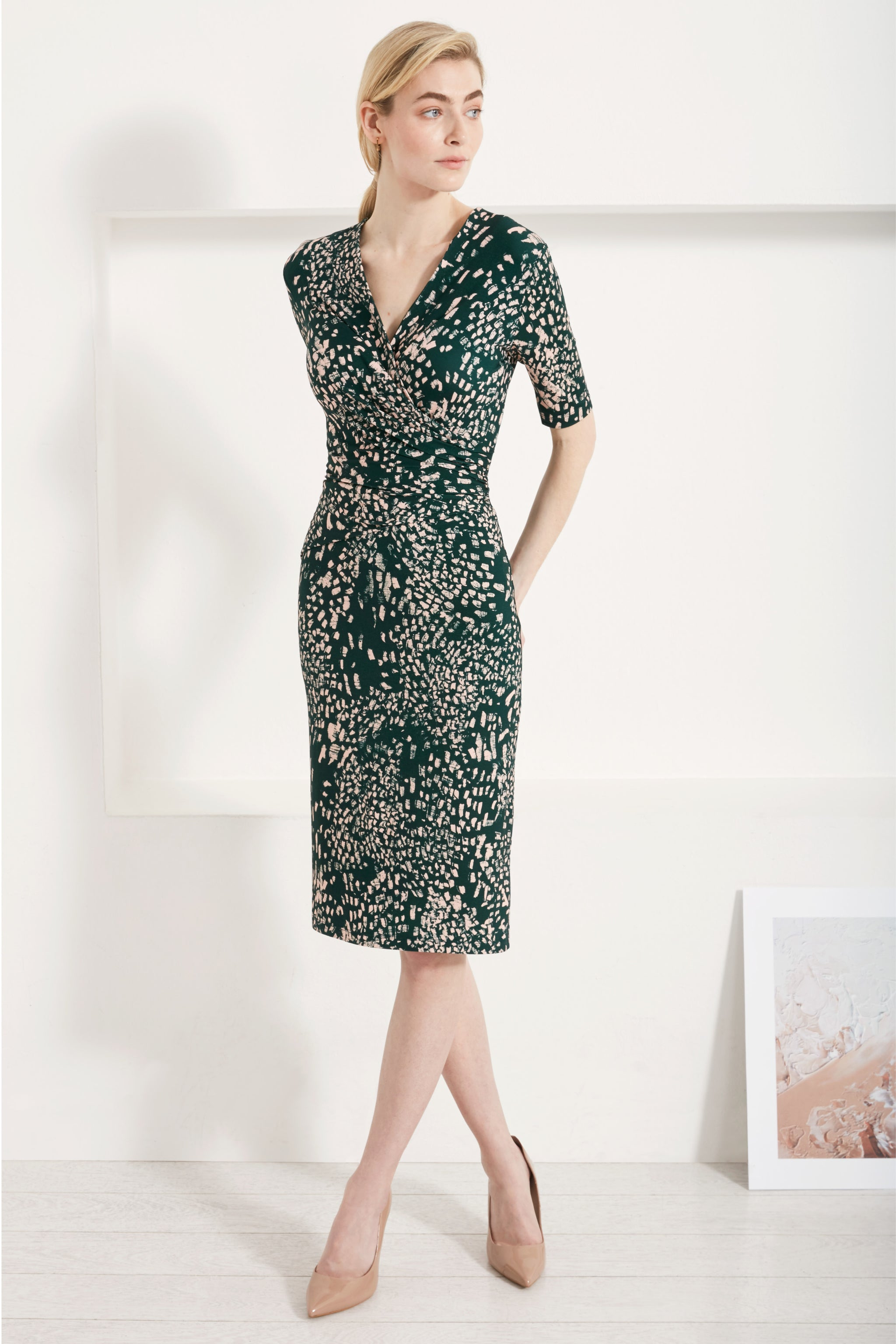 Camber Green Feather Print Dress