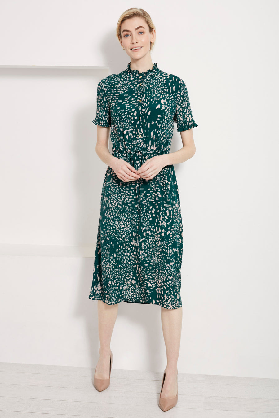 Canterbury Green Feather Print Dress