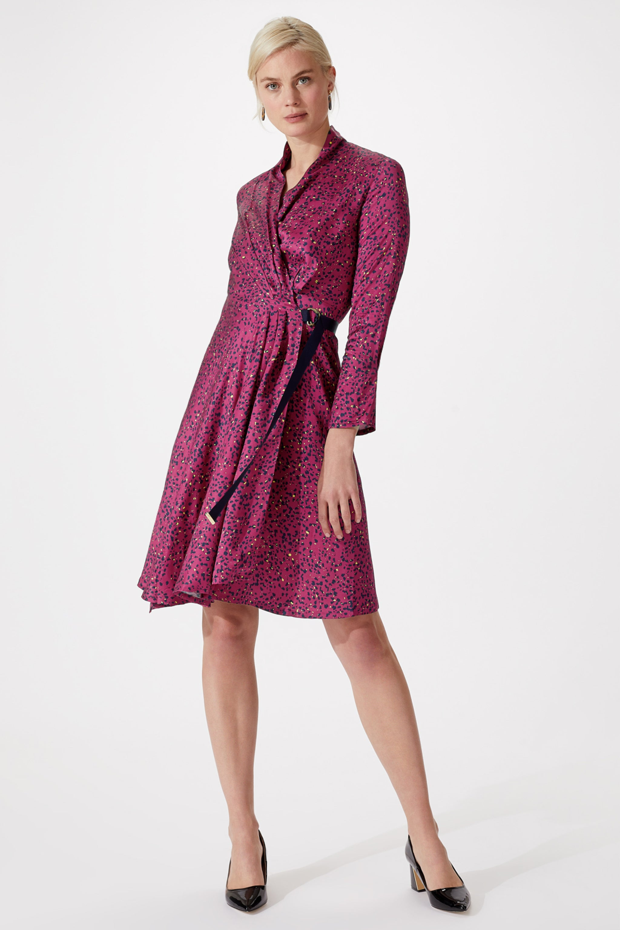 Cheyne Rosehip & Navy Spot Print Dress