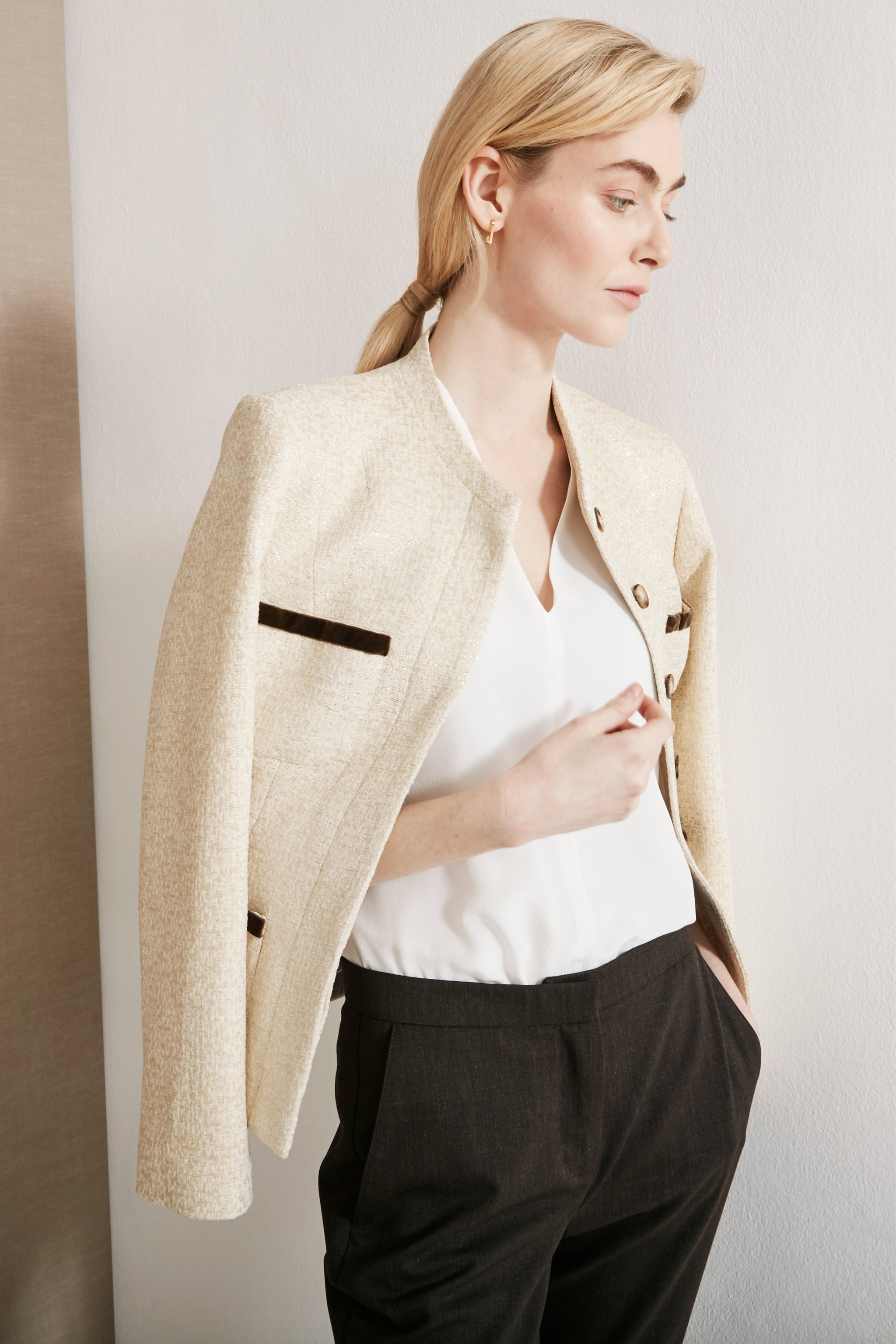 Gresham Ivory and Gold Boucle Jacket