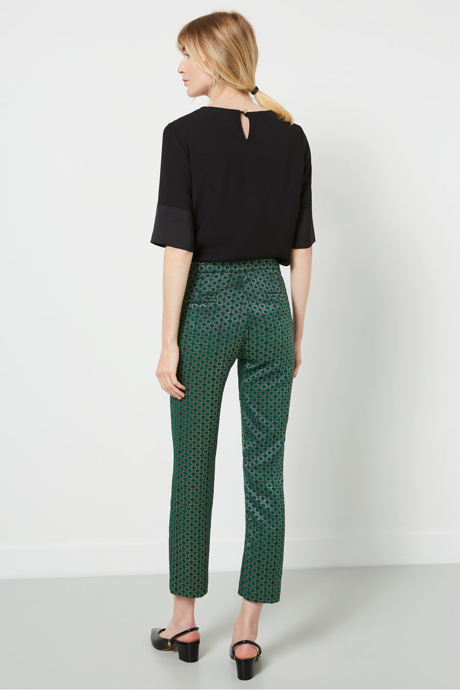 Clarence Green Print Jacquard Trousers