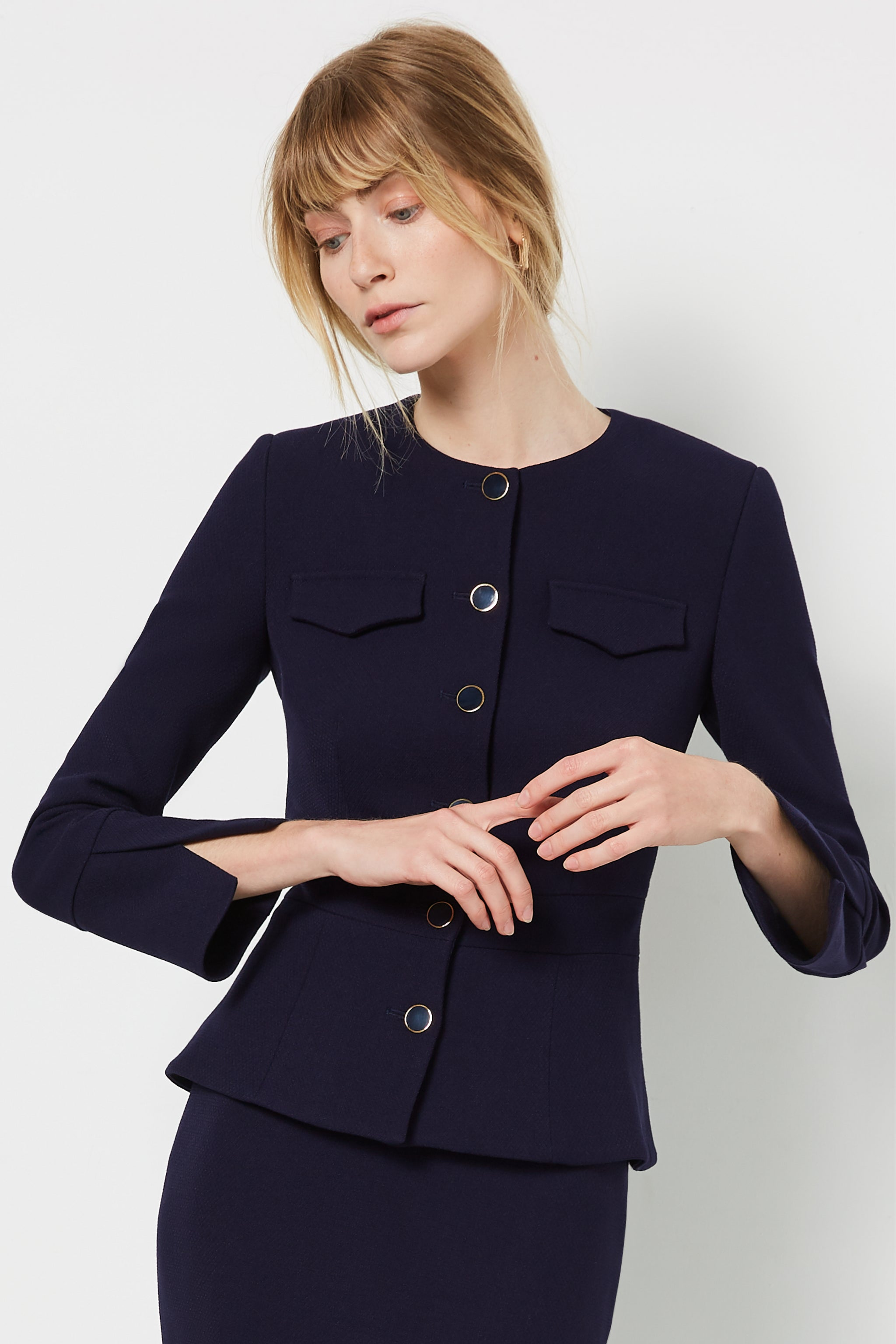 Connaught Navy Boucle Jacket