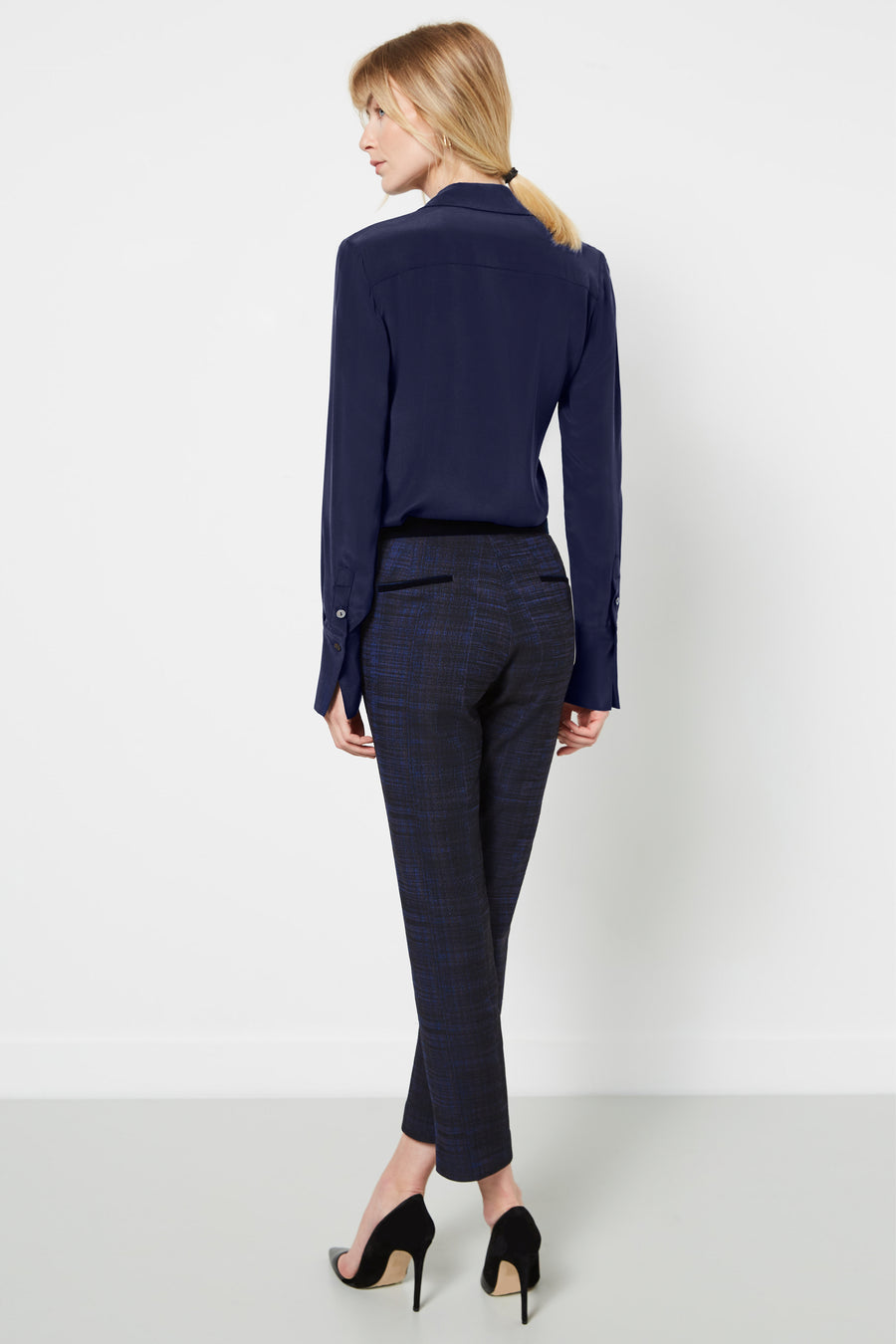 Clarence Blue Crosshatch Jacquard Trousers
