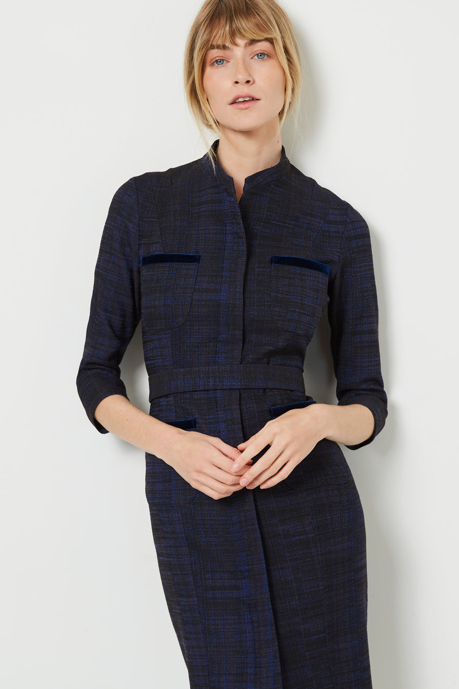 Curzon Blue Crosshatch Jacquard Dress