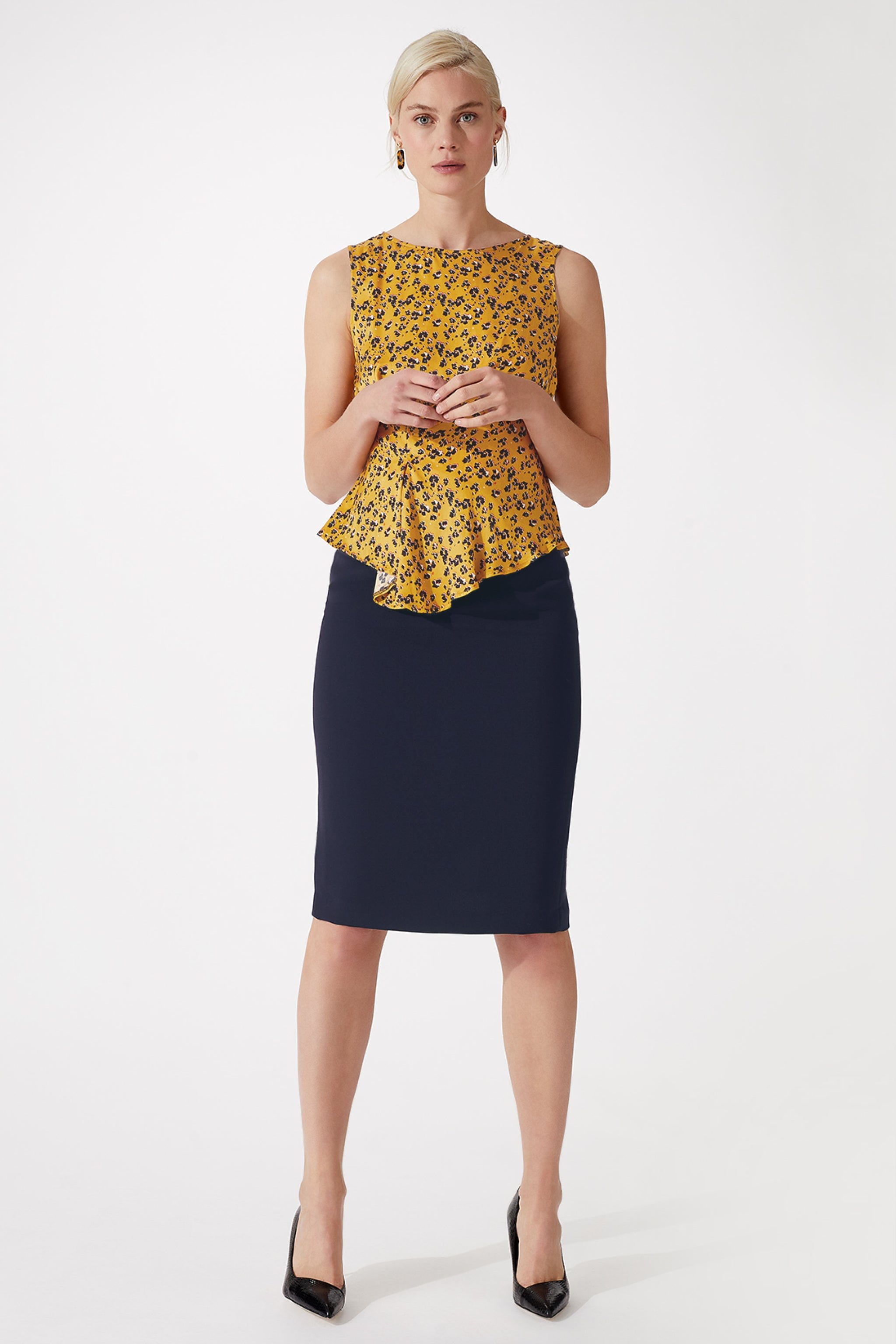 Deacon Golden Flower Print Top