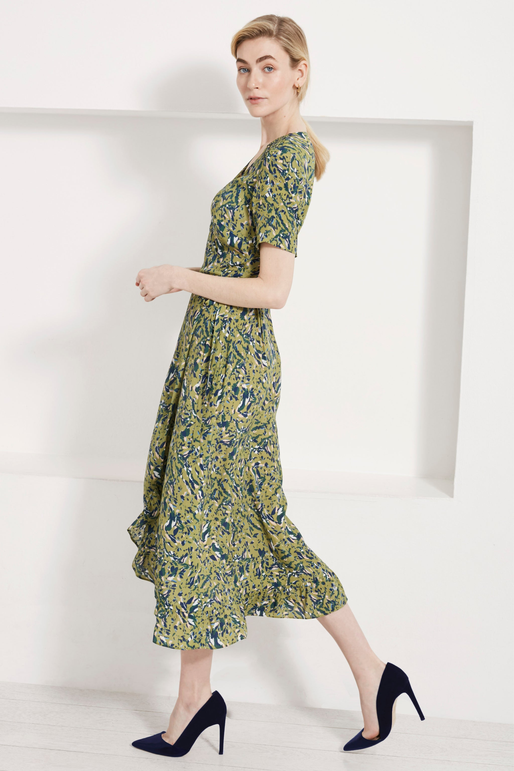 Devon Green Fleck Print Dress