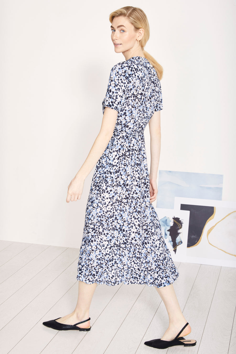 Devon Turner Blue Spot Print Dress