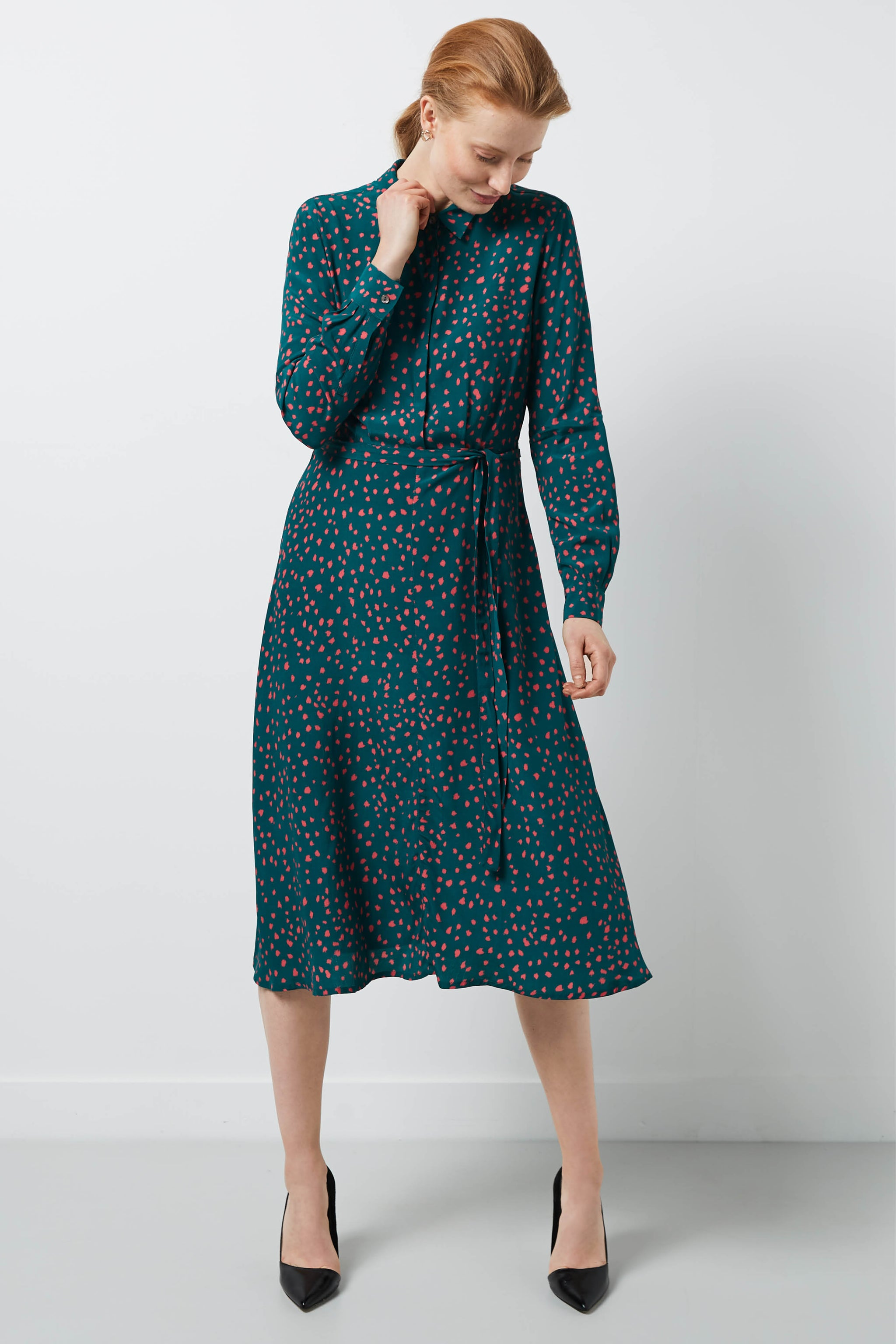 Exeter Green Dapple Print Shirt Dress