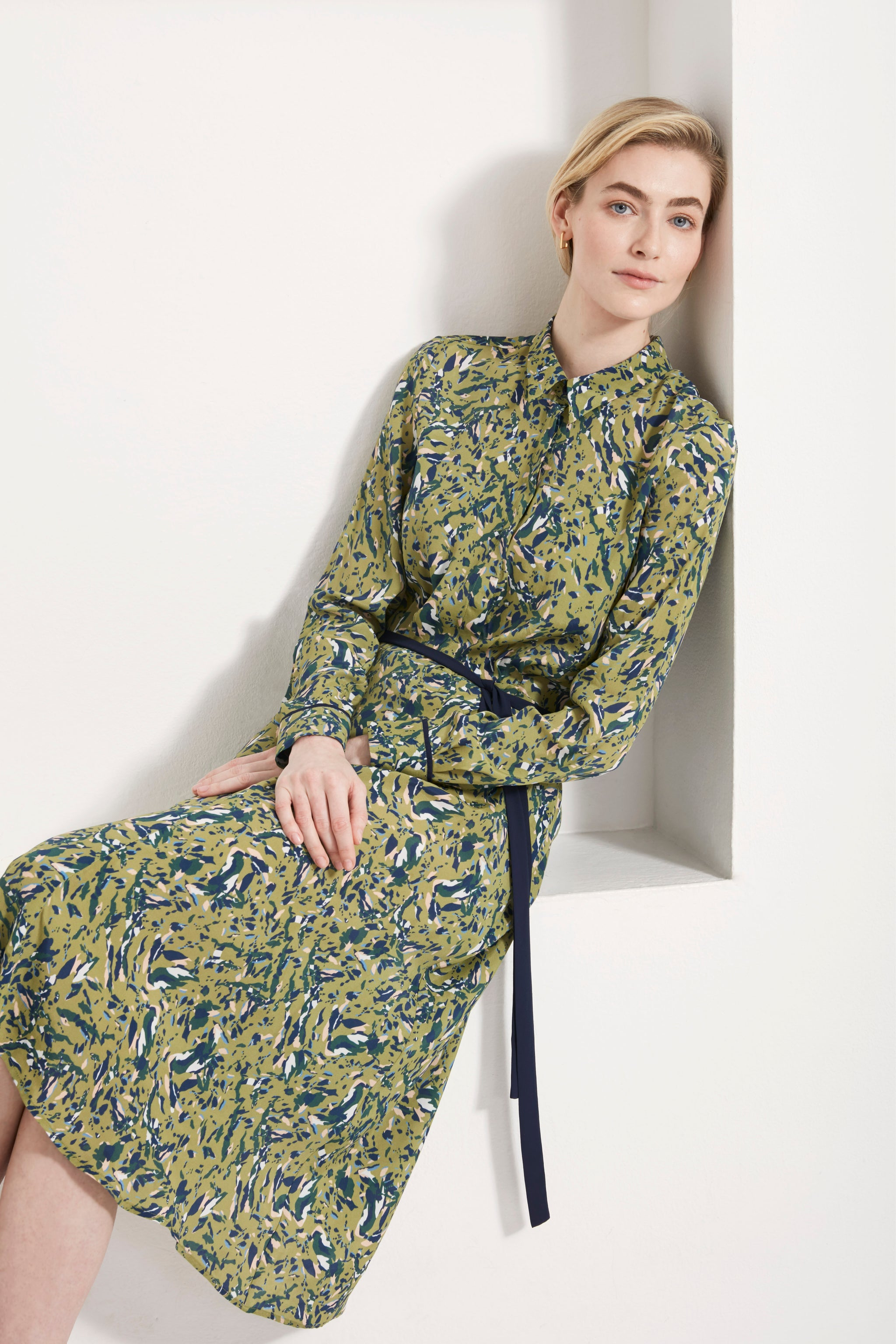 Exeter Green Fleck Print Shirt Dress