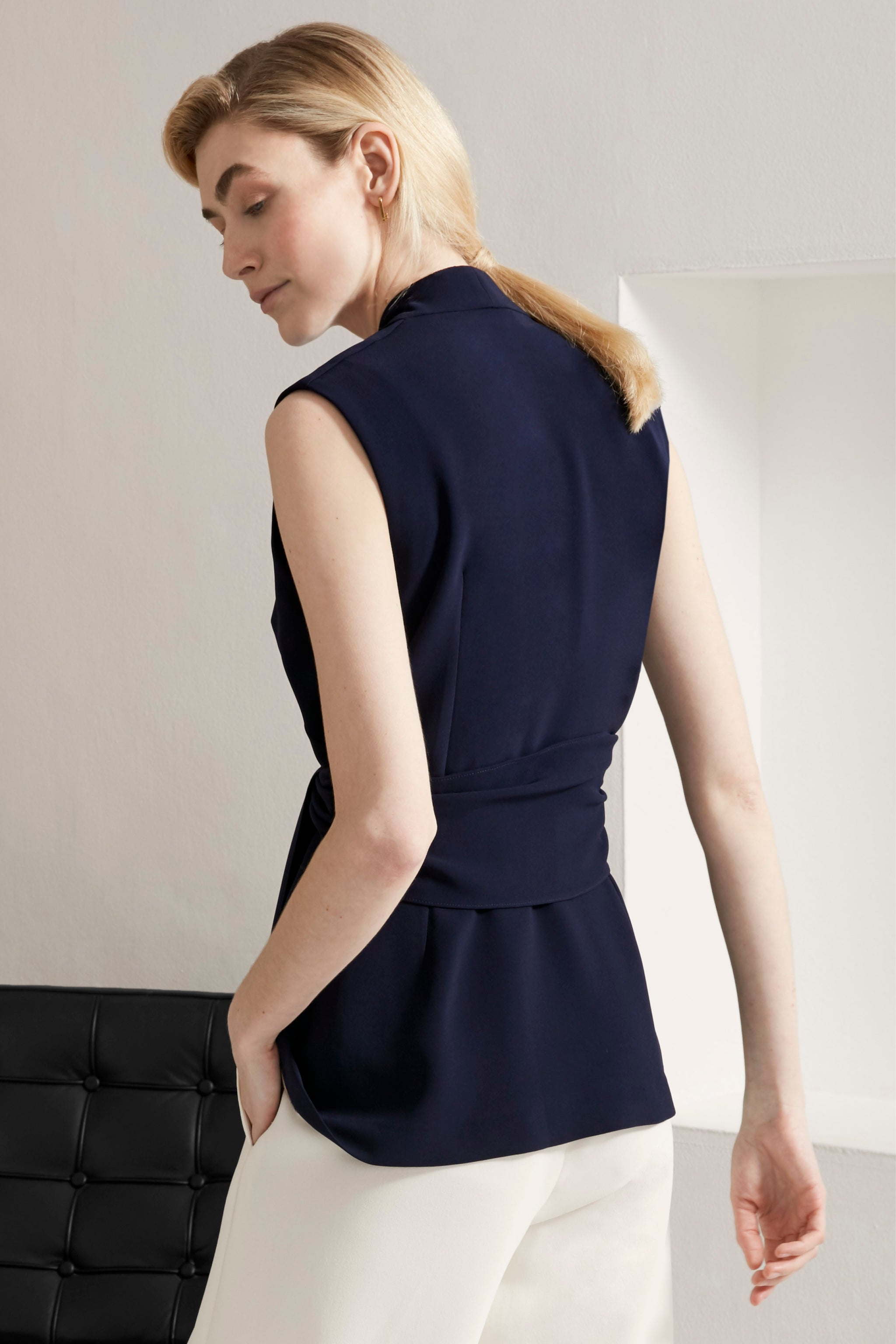 Fairfax Navy Sleeveless Jacket