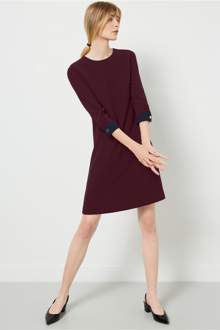 Falmouth Aubergine and Navy Dress