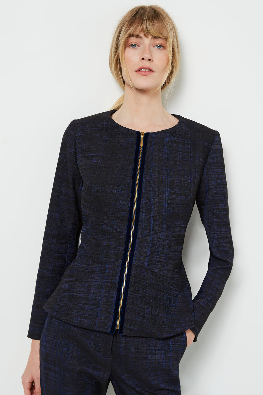 Finsbury Blue Crosshatch Jacquard Jacket