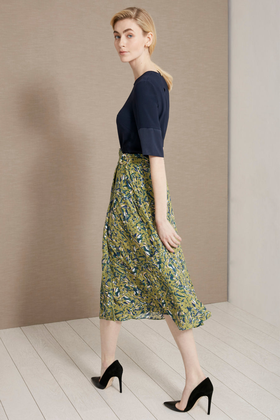 Hamble Green Fleck Print Skirt