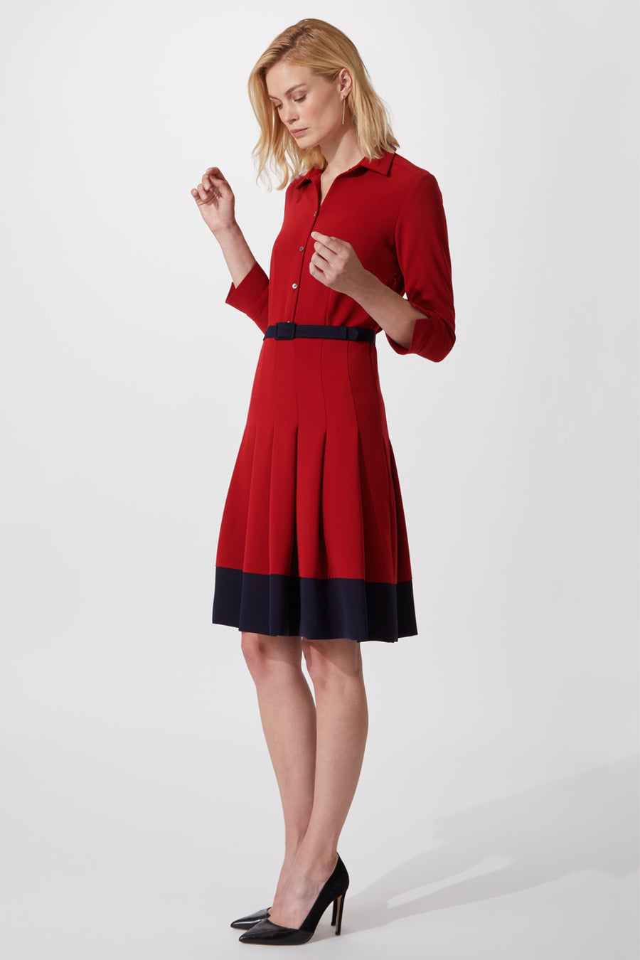 Lewis Red and Navy Shirt Dress