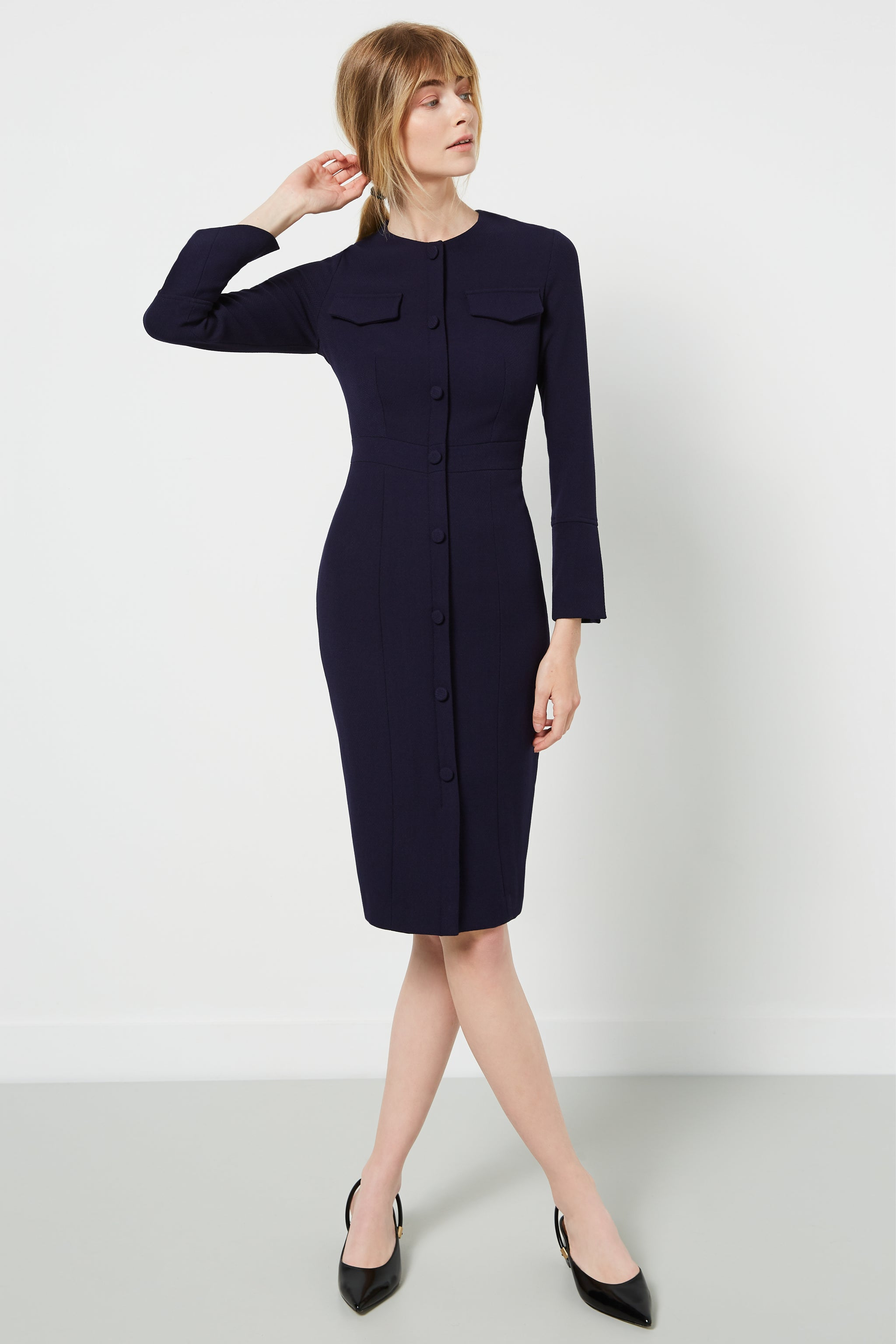 Maddox Navy Boucle Dress