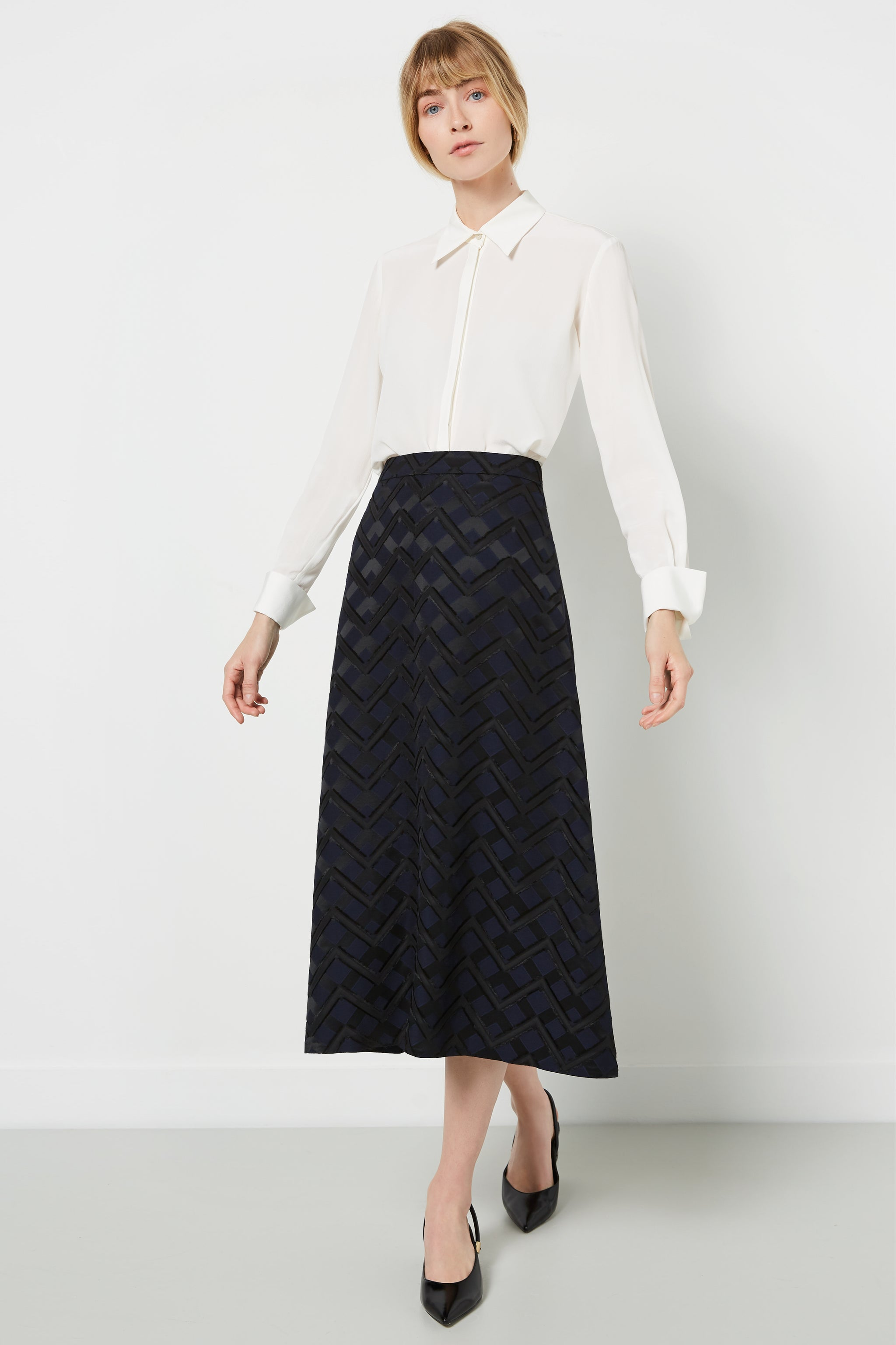 Penrith Chevron Jacquard Skirt