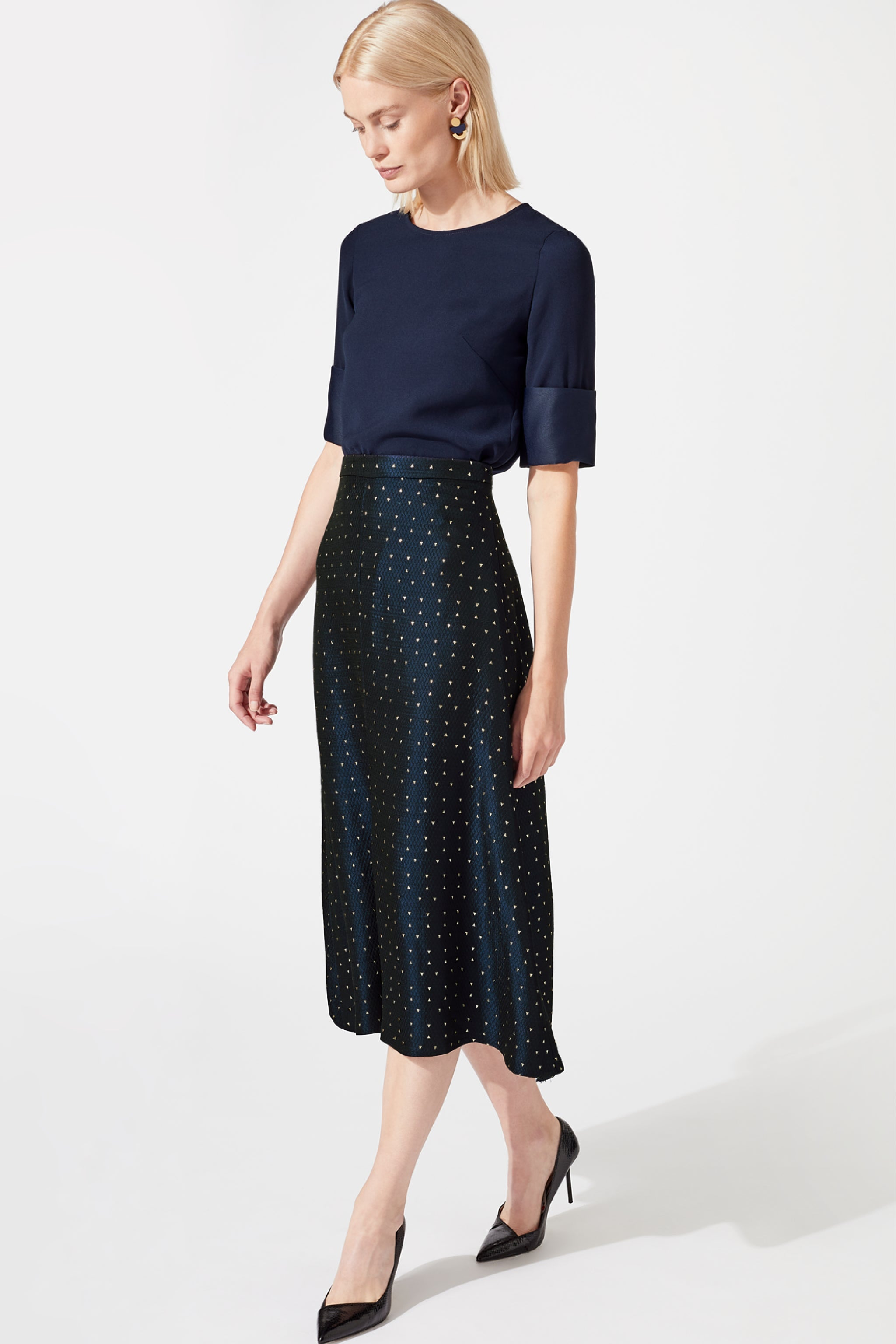 Penrith Navy Metallic Jacquard Skirt