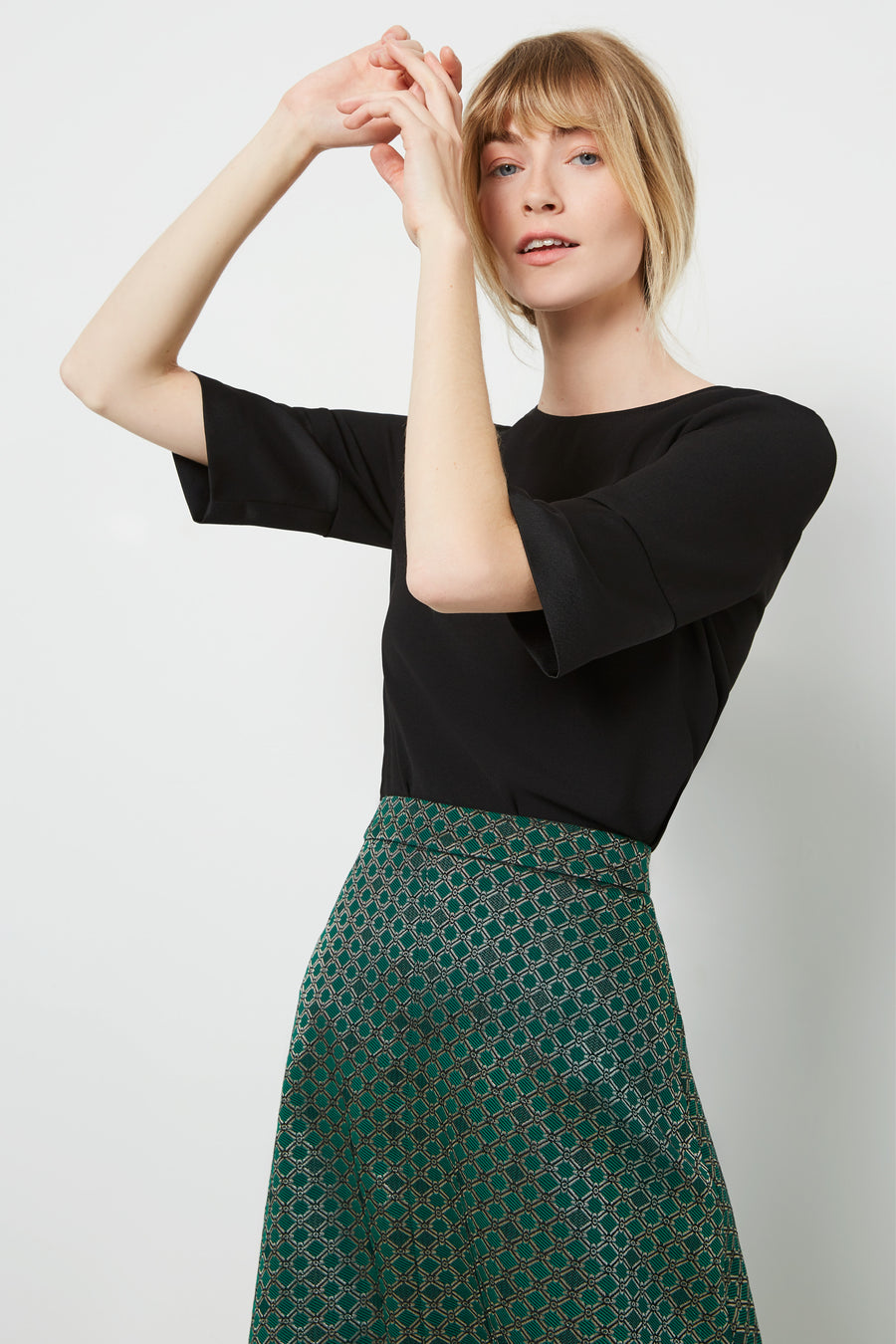 Penrith Green Print Jacquard Skirt