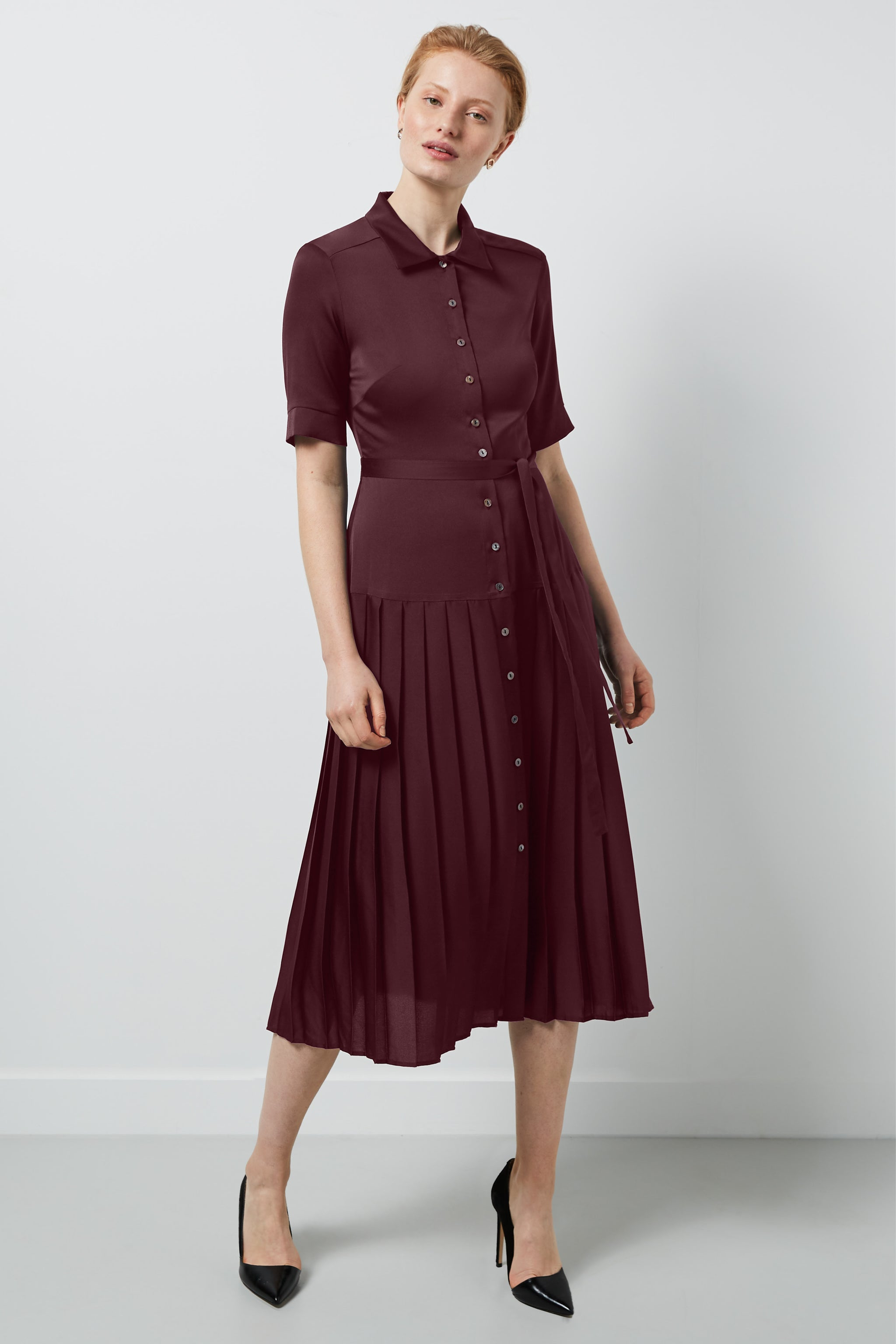 Tavistock Burgundy Shirt Dress