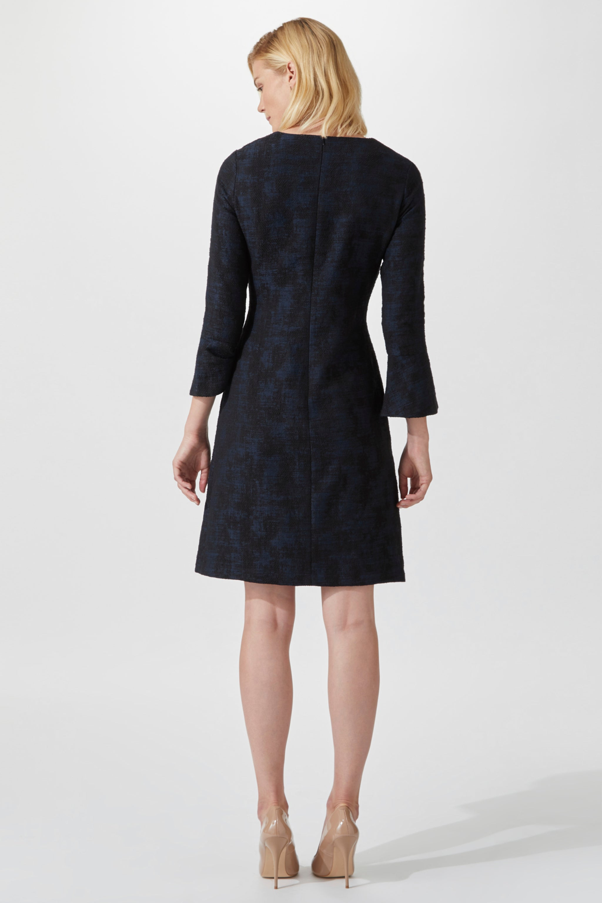 Windsor Navy Jacquard Dress
