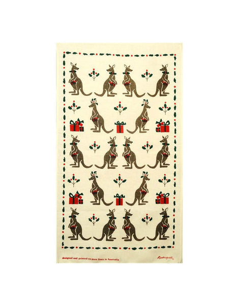 Christmas Kangaroo Tea Towel
