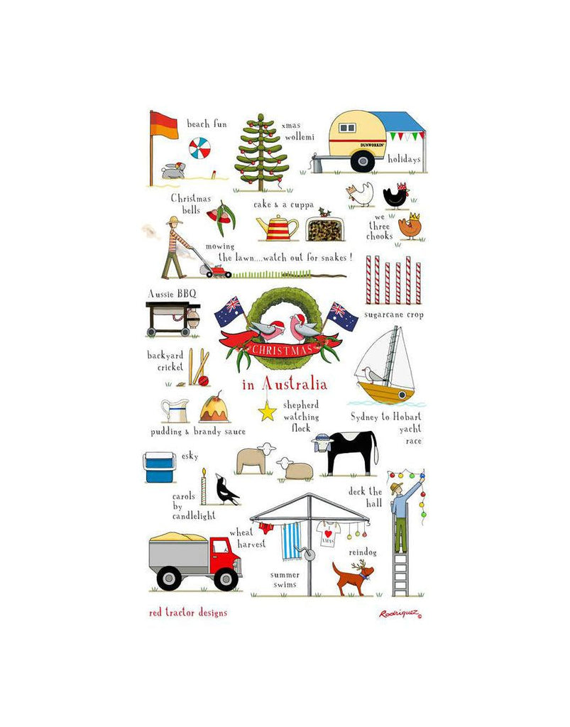 Christmas Australia Red Tractor Tea Towel