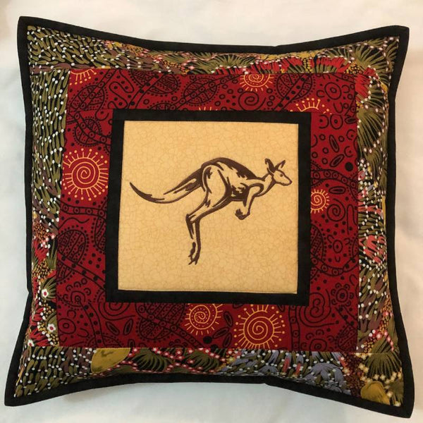Cushion Cover Kangaroo on Aboriginal