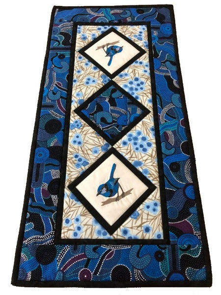 Table Runner Blue Wren on Aboriginal