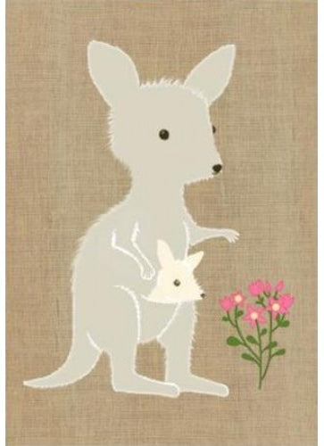 Card Kangaroo and Joey Super Cute