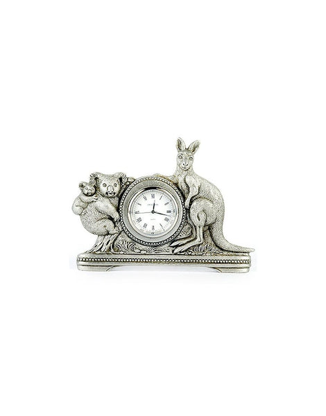 Clock Kangaroo and Koala Pewter