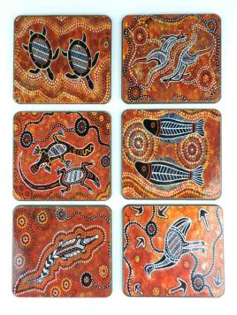 Coasters Brown Aboriginal Prints Set 6