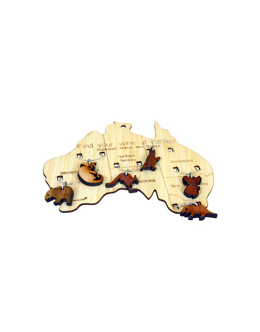 Wine Charms on Aust Map Timber
