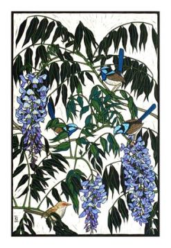 Card Wisteria and Blue Wrens