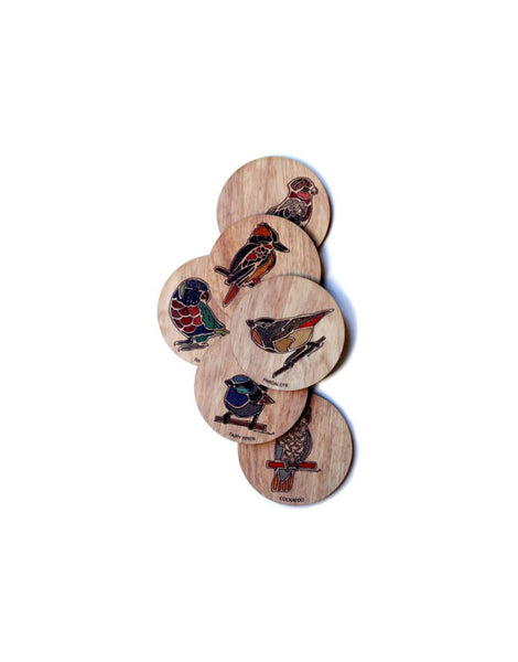 Coasters Colour Birds Timber