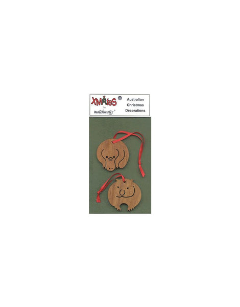 2Pack Dark Platypus and Wombat Christmas Dec