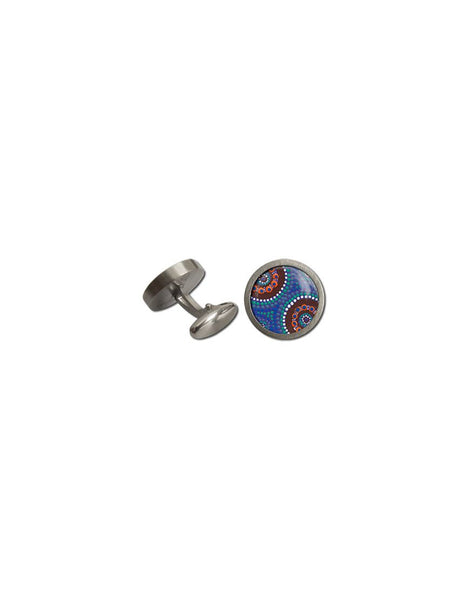 Cufflinks Rnd Camp Around Waterhole Aboriginal